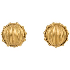 Gianfranco Ferre Gilt Metal Button Clip Earrings