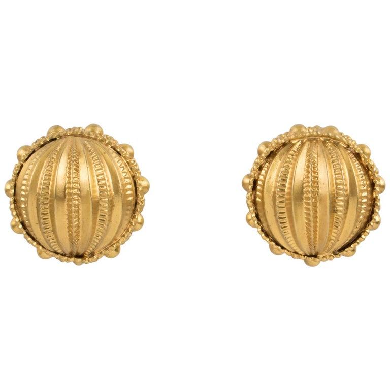 Gianfranco Ferre Gilt Metal Button Clip Earrings For Sale