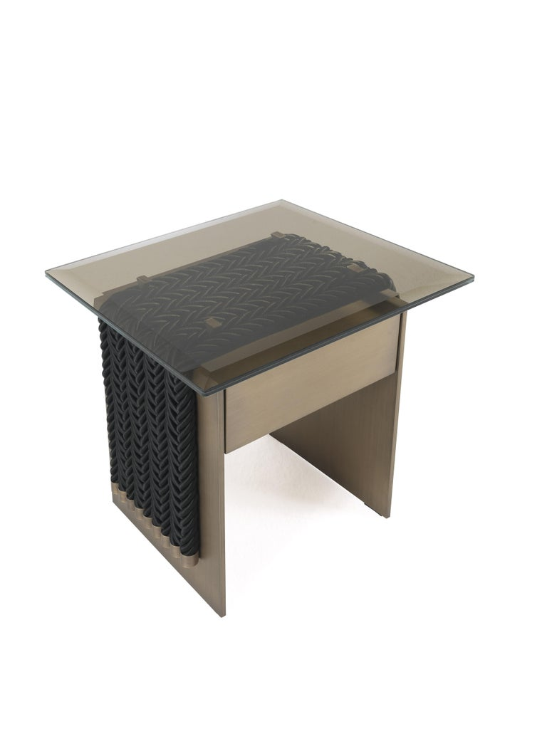 Modern Gianfranco Ferre Glasgow Night Table in Metal and Glass Top For Sale