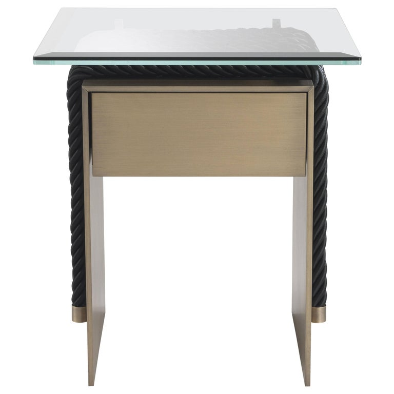 Gianfranco Ferre Glasgow Night Table in Metal and Glass Top For Sale