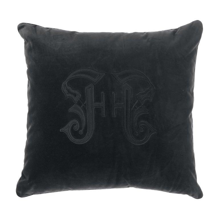 Gianfranco Ferré Home Gothic Black Cushion in Velvet For Sale