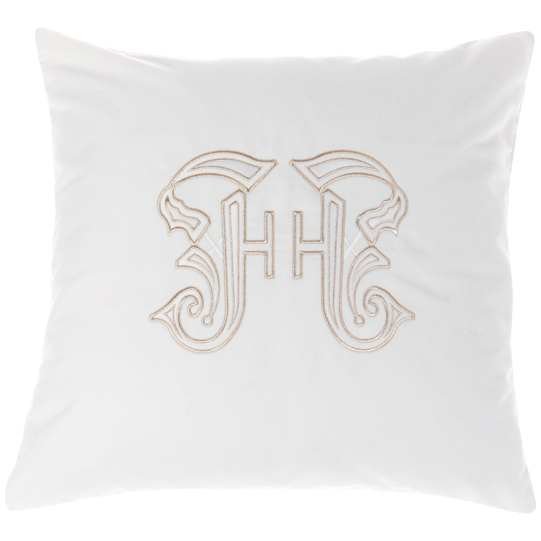 Gianfranco Ferré Home Gothic Lamé White Cushion in Velvet