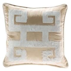 Gianfranco Ferré Greek Key Beige Negative Cushion in Silk and Velvet