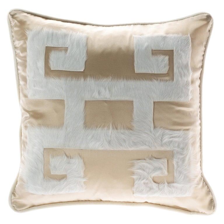 Gianfranco Ferré Greek Key Beige Negative Cushion in Silk and Velvet For Sale
