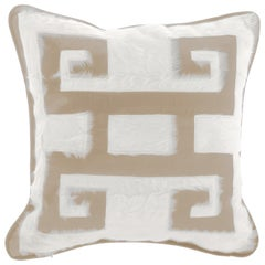 Gianfranco Ferré Greek Key Beige Positive Cushion in Silk and Velvet