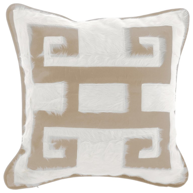 Gianfranco Ferré Greek Key Beige Positive Cushion in Silk and Velvet For Sale