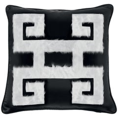 Gianfranco Ferré Greek Key Black Negative Cushion in Silk and Velvet