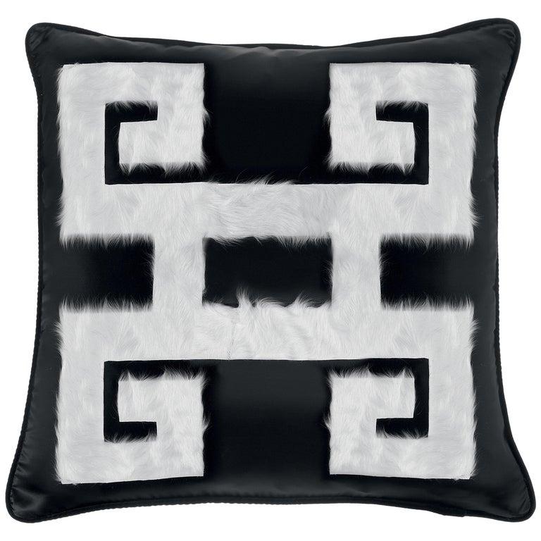 Gianfranco Ferré Greek Key Black Negative Cushion in Silk and Velvet For Sale