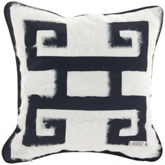 Gianfranco Ferré Greek Key Black Positive Cushion in Silk and Velvet