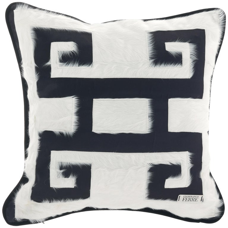 Gianfranco Ferré Greek Key Black Positive Cushion in Silk and Velvet For Sale
