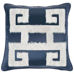 Gianfranco Ferré Greek Key Blue Negative Cushion in Silk and Velvet
