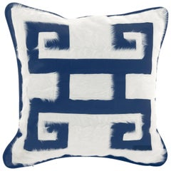 Gianfranco Ferré Greek Key Blue Positive Cushion in Silk and Velvet