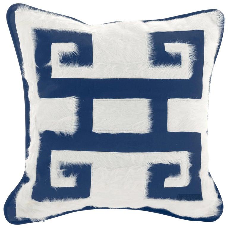 Gianfranco Ferré Greek Key Blue Positive Cushion in Silk and Velvet For Sale