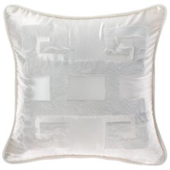 Gianfranco Ferré Greek Key White Negative Cushion in Silk and Velvet