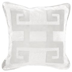 Gianfranco Ferre Greek Key White Positive Cushion in Silk and Velvet