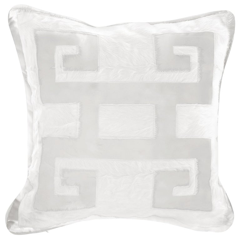 Gianfranco Ferre Greek Key White Positive Cushion in Silk and Velvet For Sale