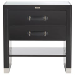 Gianfranco Ferré Hamilton Night Table in Poplar and Leather Handles