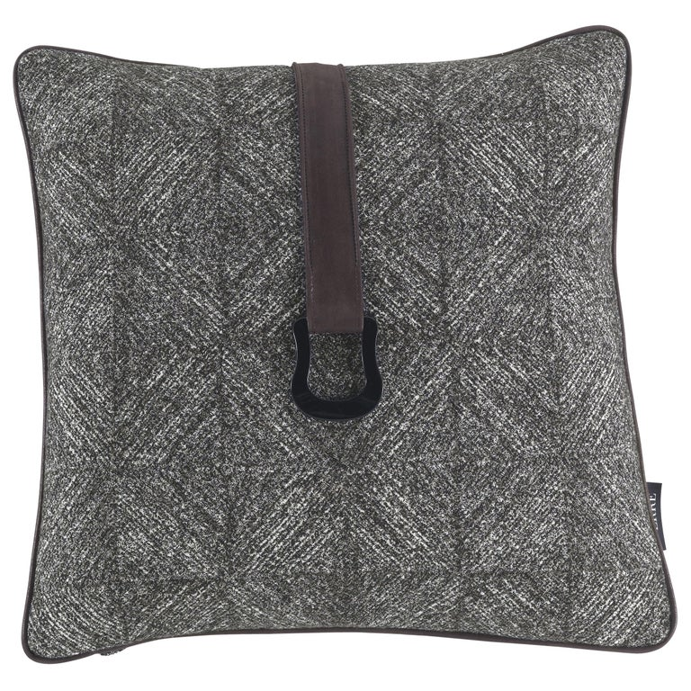 Gianfranco Ferré Harlem Cushion in Fabric and Leather For Sale