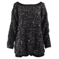 Gianfranco Ferre Heavy Kid Mohair, Wool & Satin Sequinned Fuzzy Sweater, 1980s