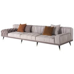 Gianfranco Ferré Highlander 3-Seat Sofa in Nabuk Dove and Sand Leather