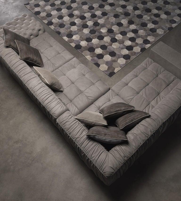 Italian Gianfranco Ferré Home Highlander Modular Sofa in Leather For Sale