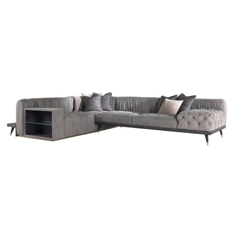Gianfranco Ferré Home Highlander Modular Sofa in Leather For Sale