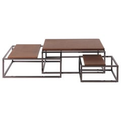 Gianfranco Ferré Home Matrix Central Table in Natural Colored Saddle Leather