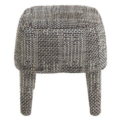 Gianfranco Ferré Home Mini Pouf in Black & White Woven Chenille Fabric