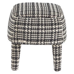 Gianfranco Ferré Home Mini Pouf in Black and White Woven Fabric