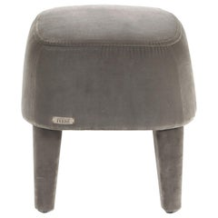 Gianfranco Ferré Home Mini Pouf in Velvet Cotton Dove Grey Fabric