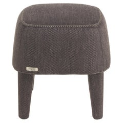 Gianfranco Ferré Home Mini Pouf in Woven Chevron Brown Fabric