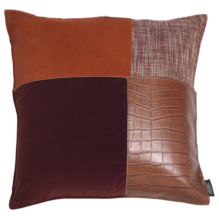 Gianfranco Ferré Identity Cushion in Fabric and Leather For Sale