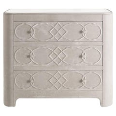 Gianfranco Ferre Infinity Chest of Drawers in Cream Leather