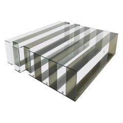 Gianfranco Ferré Jenga Central Table in Bronze and Clear Glass