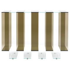 Gianfranco Ferré Jenga Console in Bronzed and Extra Clear Glass