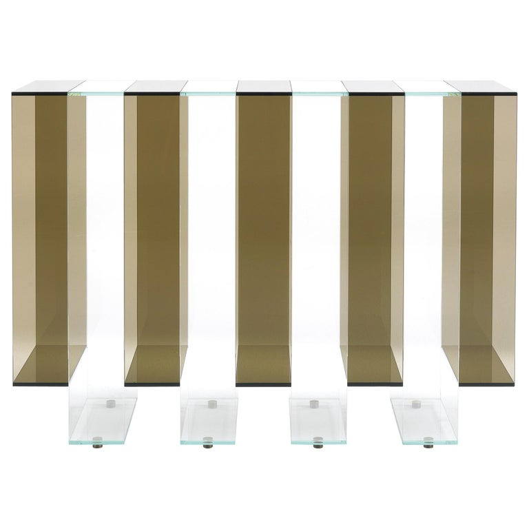 Gianfranco Ferré Jenga Console in Bronzed and Extra Clear Glass For Sale