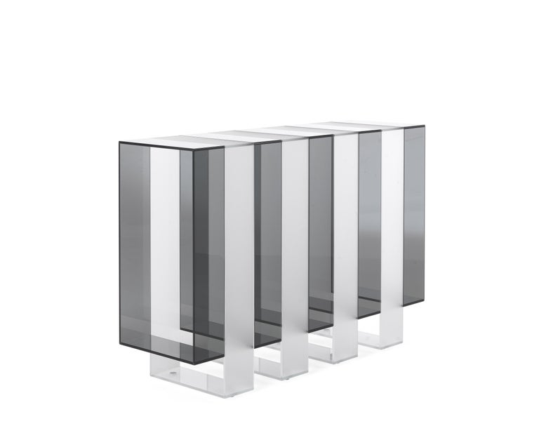 Modern Gianfranco Ferré Jenga Console with Smoky and Satin Extra Clear Glass For Sale