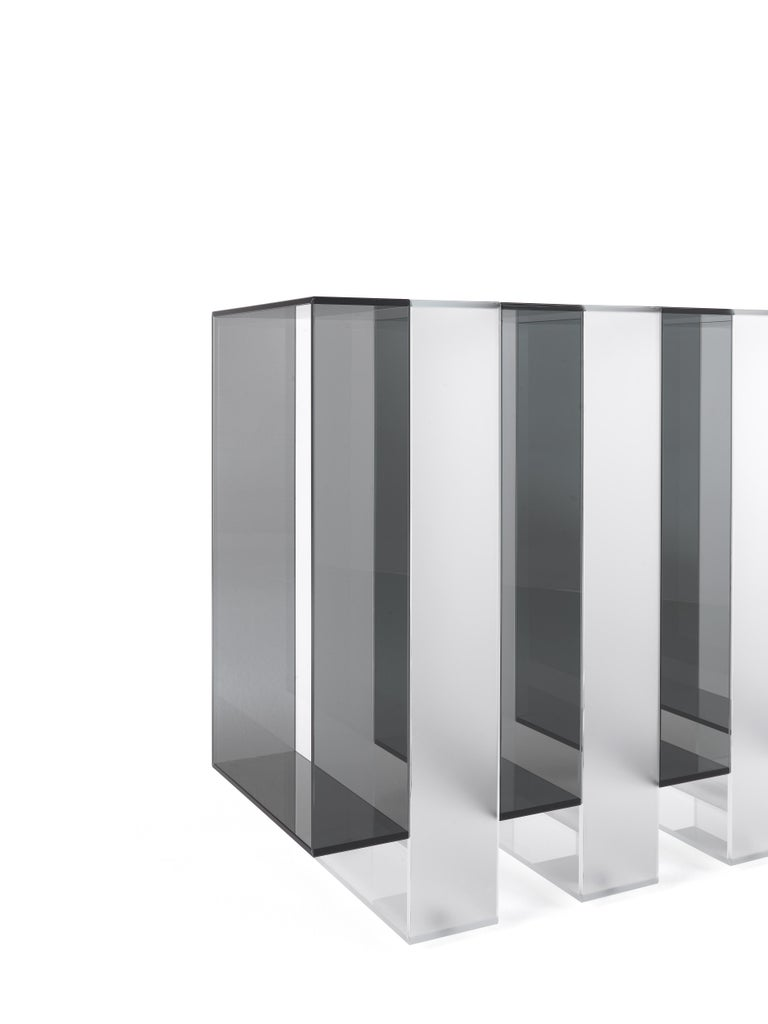 Italian Gianfranco Ferré Jenga Console with Smoky and Satin Extra Clear Glass For Sale