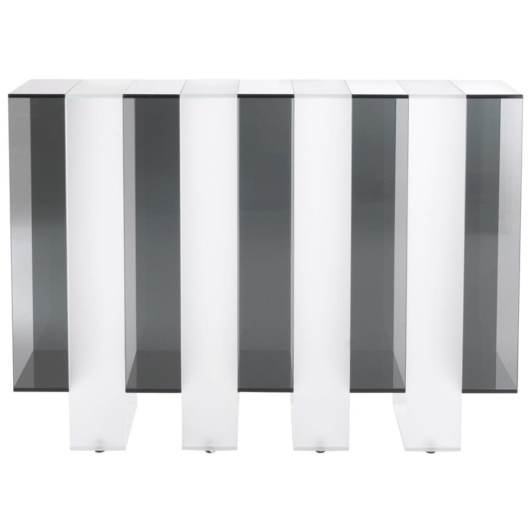 Gianfranco Ferré Jenga Console with Smoky and Satin Extra Clear Glass For Sale