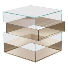 Gianfranco Ferrè Jenga Side Table in Bronze and Clear Glass