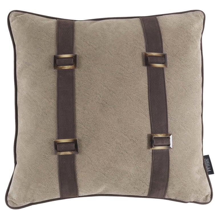 Gianfranco Ferré Kallio Cushion in Fabric and Leather For Sale