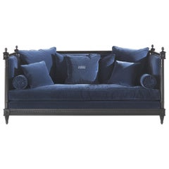 Gianfranco Ferré King Sofa in Blue Cotton Velvet Upholstery