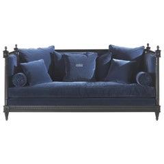 Gianfranco Ferré Home King Sofa in Blue Cotton Velvet