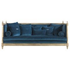 Gianfranco Ferré King Sofa in Petroleum Blue Cotton Velvet Upholstery