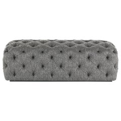 Gianfranco Ferré King's Cross Rectangular Pouf in Wood and Knotted Grey Fabric