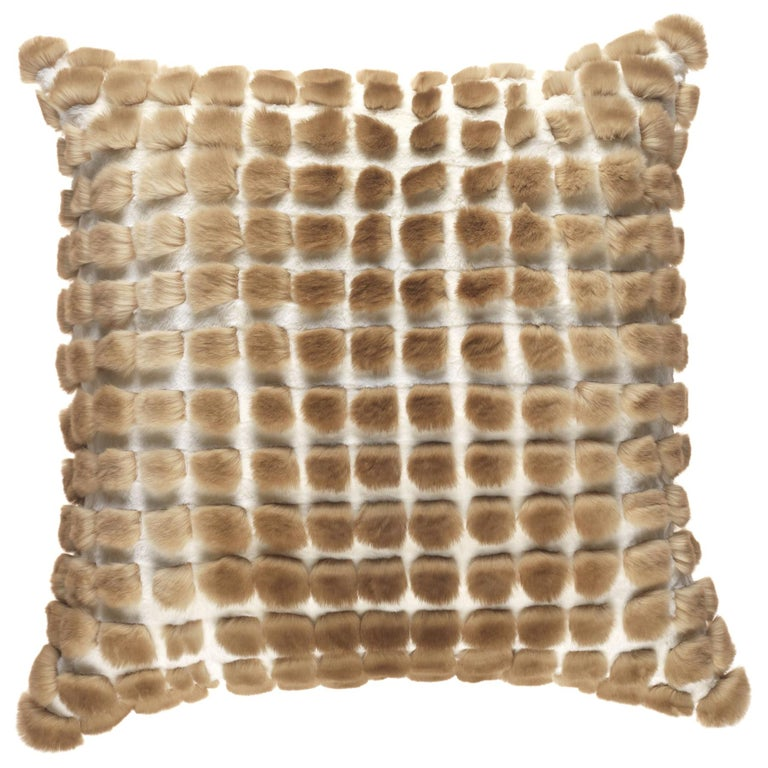 Gianfranco Ferré Kirah Bouclé Beige Cushion in Orylag and Velvet For Sale