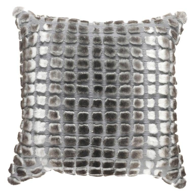 Gianfranco Ferré Home Kirah Bouclé Grey Cushion in Orylag and Velvet For Sale