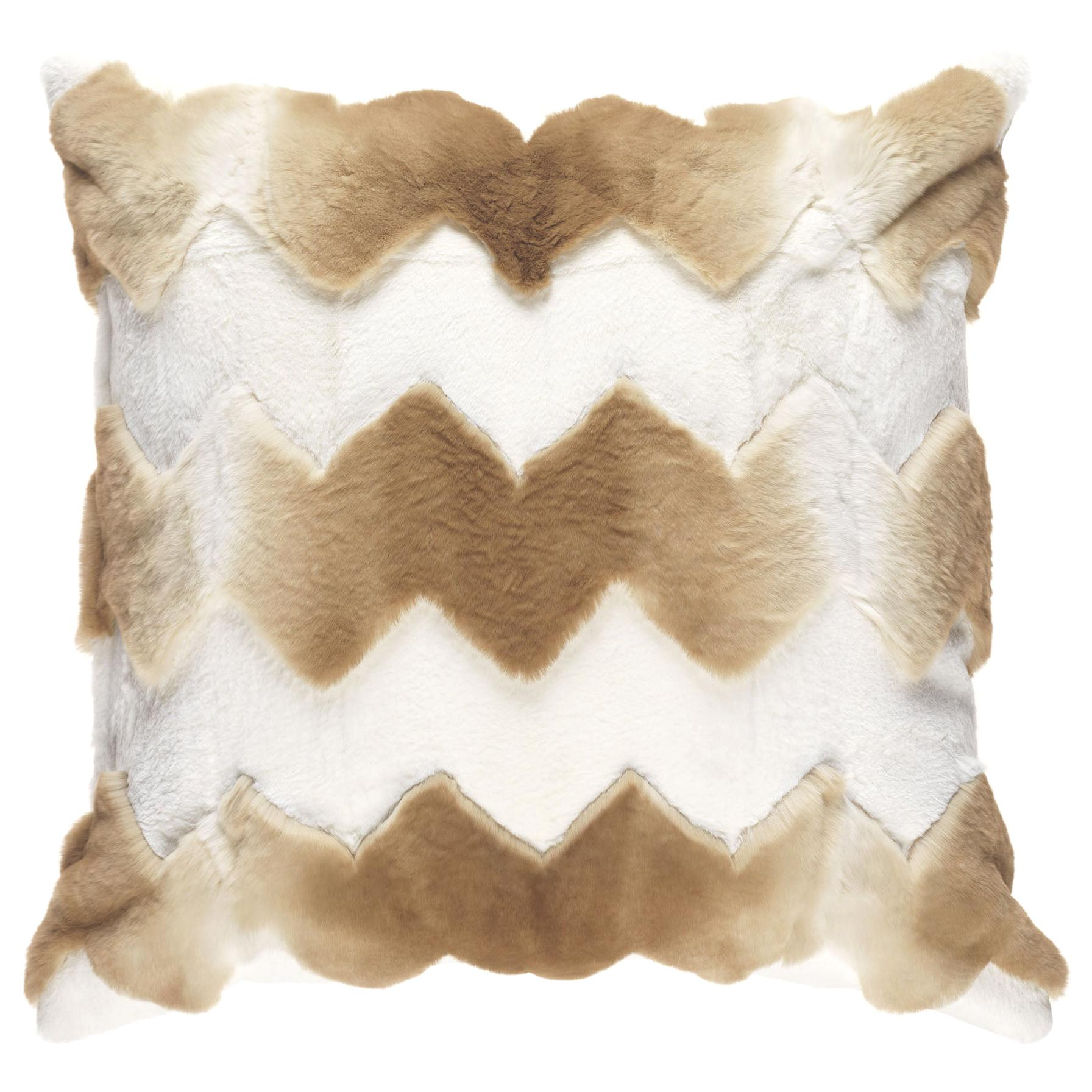 Gianfranco Ferré Home Kirah Chevron Beige Cushion in Orylag and Velvet