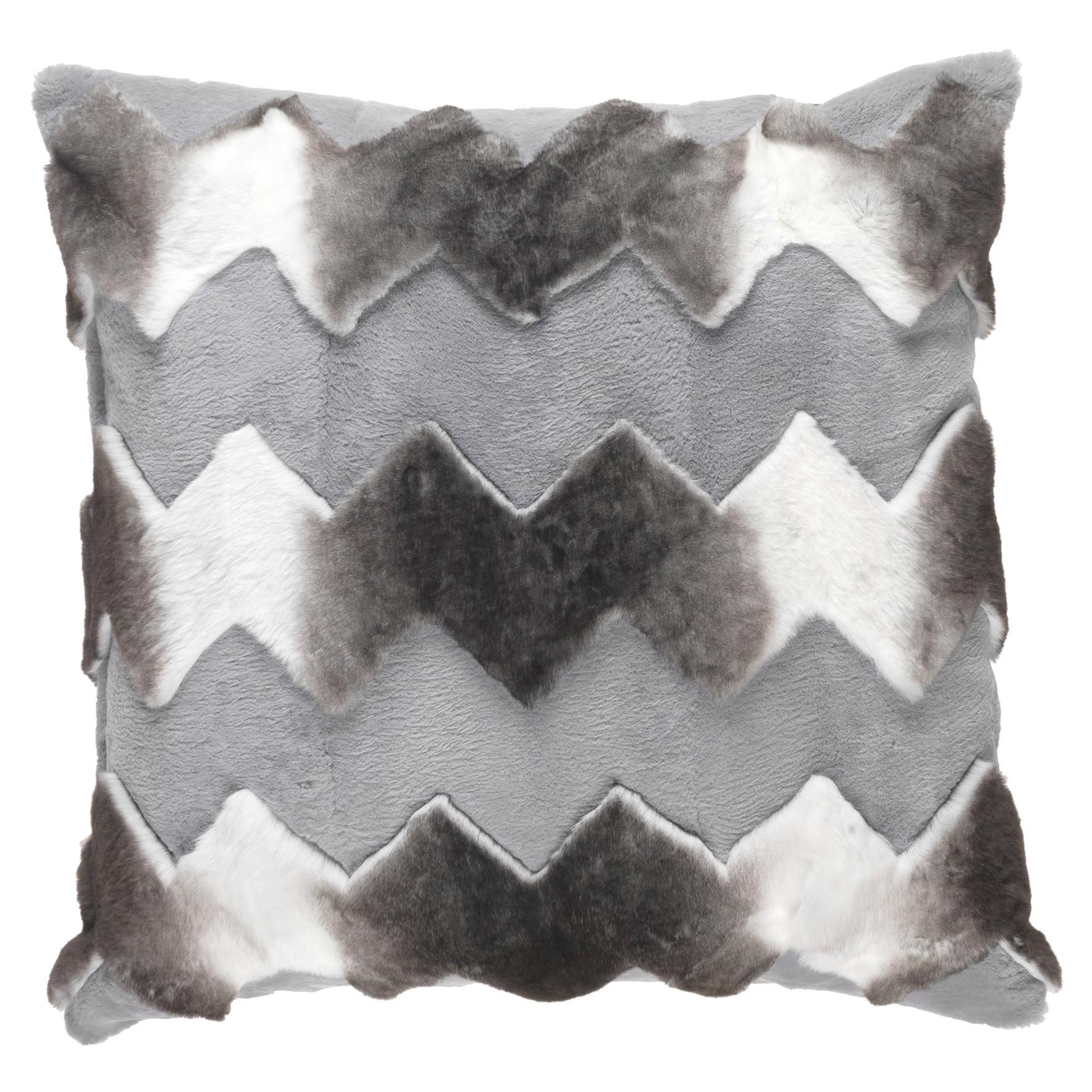 Gianfranco Ferré Home Kirah Chevron Grey Cushion in Orylag and Velvet
