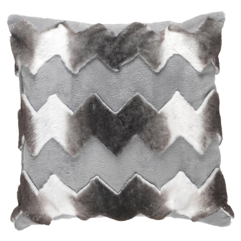 Gianfranco Ferré Home Kirah Chevron Grey Cushion in Orylag and Velvet For Sale
